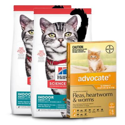 Advocate Cats And Kittens Small Up To 4kg 6 Pack With Hills Science Diet Indoor Chicken Adult Dry Cat Food 8kg