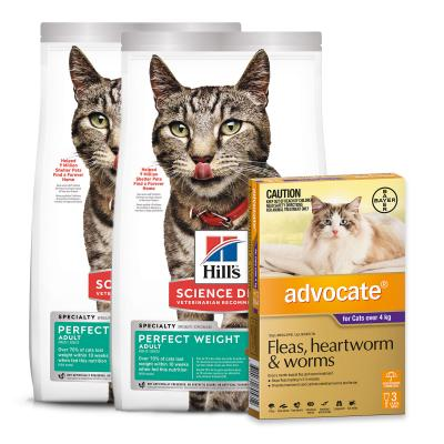 Advocate Cats Large Over 4kg 3 Pack With Hills Science Diet Perfect Weight Chicken Adult Dry Cat Food 6.34kg