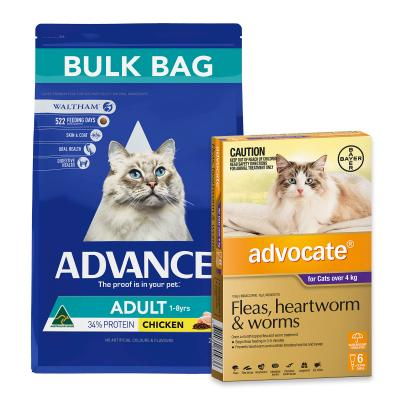 Advocate For Cats Large Over 4kg 6 Pack And Advance Adult Chicken Dry Cat Food 20kg