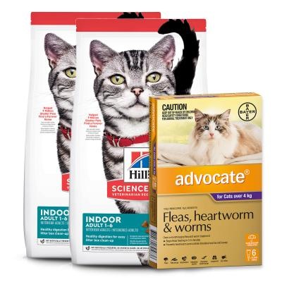 Advocate Cats Large Over 4kg 6 Pack With Hills Science Diet Indoor Chicken Adult Dry Cat Food 8kg