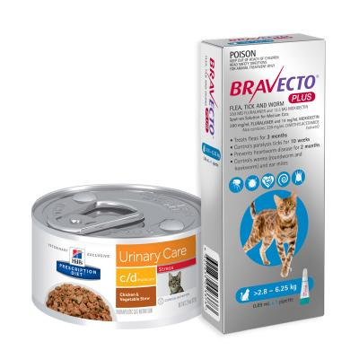 Bravecto Plus Spot On Medium Cats 2.8-6.25kg 1 Pack With Hills Prescription Diet c/d Urinary Care Urinary Stress Wet Cat Food Cans 82gm x 24