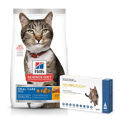 Revolution Cat 2.6-7.5kg Blue 6 Pack With Hills Science Diet Oral Care Chicken Recipe Adult Dry Cat Food 4kg
