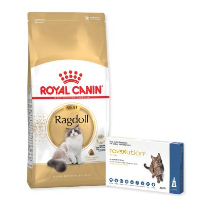 Revolution Cat 2.6-7.5kg Blue 3 Pack With Royal Canin Ragdoll Adult Dry Cat Food 10kg