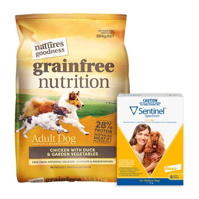 Sentinel Spectrum 11-22kg Yellow 6 Pack With Natures Goodness Grain Free Chicken Duck Vegetables Dry Dog Food 20kg