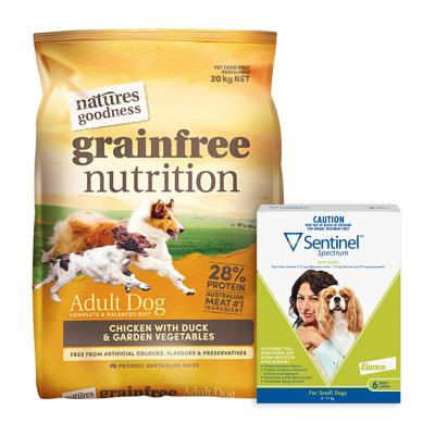 Sentinel Spectrum 4-11kg Green 6 Pack With Natures Goodness Grain Free Chicken Duck Vegetables Dry Dog Food 20kg