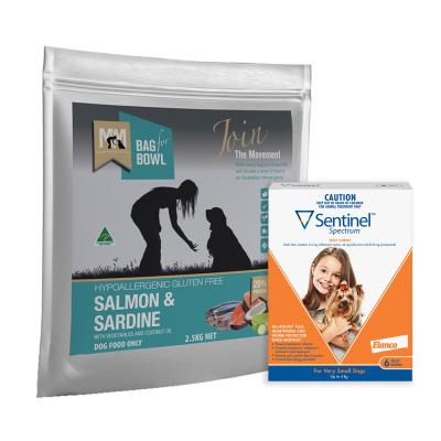 Sentinel Spectrum Up To 4kg Brown 6 Pack With Meals For Mutts MfM Salmon And Sardine Adult Dry Dog Food 2.5kg