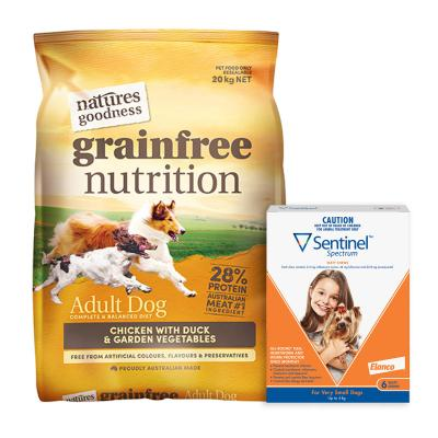 Sentinel Spectrum Up To 4kg Brown 6 Pack With Natures Goodness Grain Free Chicken Duck Vegetables Dry Dog Food 20kg