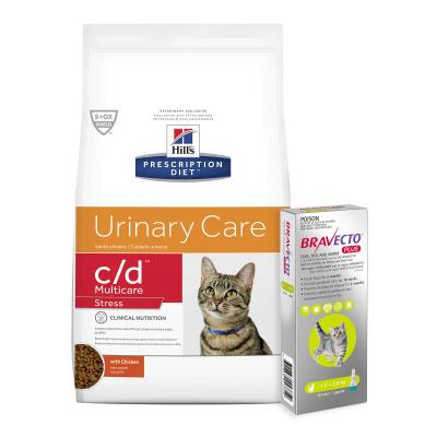 Bravecto Plus Spot On Kittens & Small Cats 1.2-2.8kg 1 Pack With Hills Prescription Diet c/d Urinary Care Multicare Stress Dry Cat Food 7.98kg