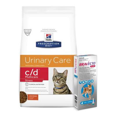 Bravecto Plus Spot On Medium Cats 2.8-6.25kg 1 Pack With Hills Prescription Diet c/d Urinary Care Multicare Stress Dry Cat Food 7.98kg