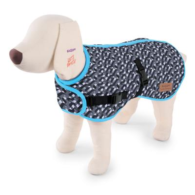 Kazoo Funky Nylon Dog Coat Grey And Black Diamond Blue Trim Medium 46.5cm