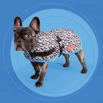 Kazoo Funky Nylon Dog Coat Grey And Black Diamond Blue Trim Medium 46.5cm