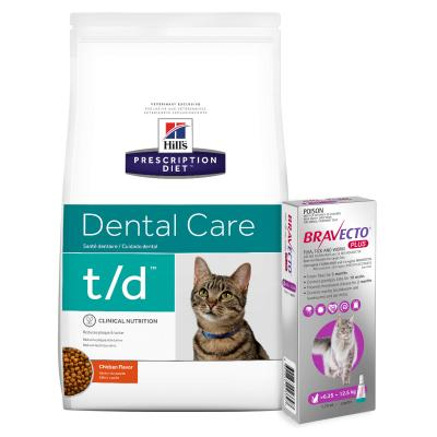 Bravecto Plus Spot On Large Cats 6.25-12.5kg 1 Pack With Hills Prescription Diet Feline t/d Dry Cat Food 6kg