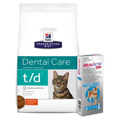 Bravecto Plus Spot On Medium Cats 2.8-6.25kg 1 Pack With Hills Prescription Diet Feline t/d Dry Cat Food 6kg