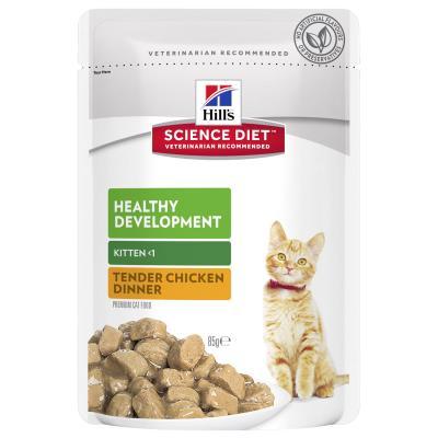 Hills Science Diet Kitten Chicken Dry Food 4kg With Healthy Development Chicken Kitten Wet Pouches 85g x 12