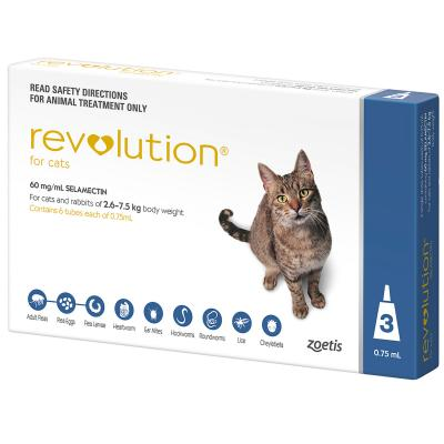 Revolution Cat 2.6-7.5kg Blue 6 Pack With Greenies Feline Dental Treats Roasted Chicken Flavour For Cats 71g