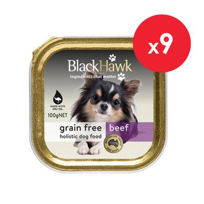 Black Hawk Grain Free Beef Adult Canned Wet Dog Food 100gm X 9