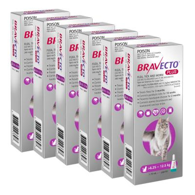 Bravecto Plus Spot On For Large Cats 6.25 - 12.5kg 6 Pack