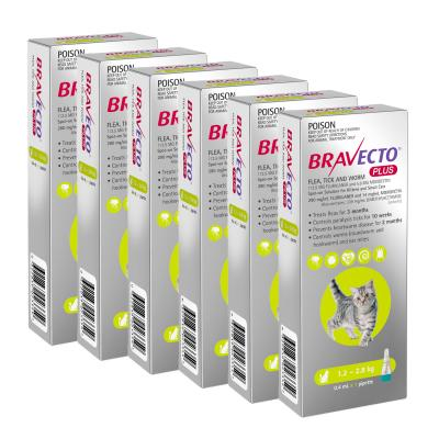 Bravecto Plus Spot On For Kittens & Small Cats 1.2 - 2.8kg 6 Pack