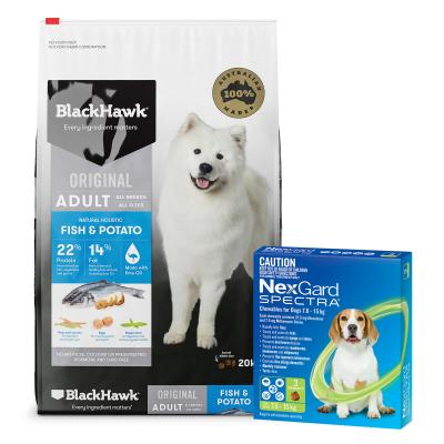 NexGard Spectra Green 7.6-15kg 3 Pack With Black Hawk Fish And Potato Adult Dry Dog Food 20kg