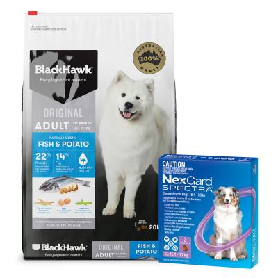 NexGard Spectra Purple 15.1-30kg 3 Pack And Black Hawk Fish And Potato Adult Dry Dog Food 20kg