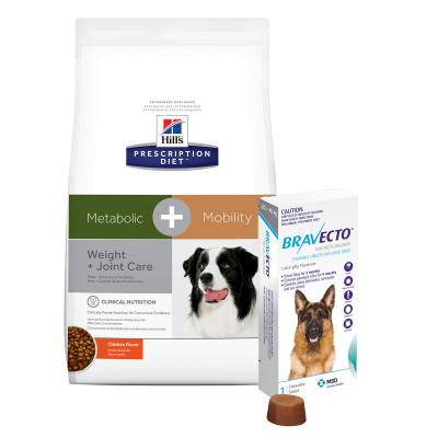 Bravecto Large Dogs 20-40kg 1 Chew With Hills Prescription Diet Canine Metabolic + Mobility Dry Dog Food 10.8kg