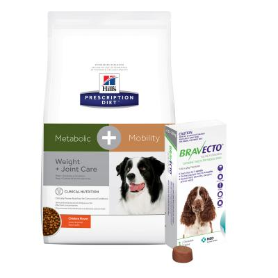 Bravecto Medium Dogs 10-20kg 1 Chew With Hills Prescription Diet Canine Metabolic + Mobility Dry Dog Food 10.8kg