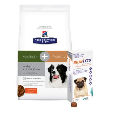 Bravecto Small Dogs 4.5-10kg 1 Chew With Hills Prescription Diet Canine Metabolic + Mobility Dry Dog Food 10.8kg