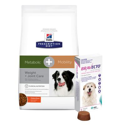 Bravecto Very Large Dogs 40-56kg 1 Chew With Hills Prescription Diet Canine Metabolic + Mobility Dry Dog Food 10.8kg