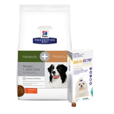 Bravecto Very Small Dogs 2-4.5kg 1 Chew With Hills Prescription Diet Canine Metabolic + Mobility Dry Dog Food 10.8kg