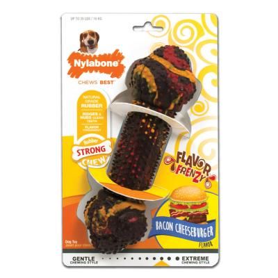 Nylabone Flavour Frenzy Bacon Cheeseburger Wolf Medium Strong Rubber Toy For Dogs