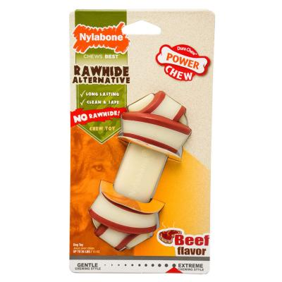 Nylabone Power Dura Chew Rawhide Alternative Knot Bone Beef Wolf Medium Toy For Dogs