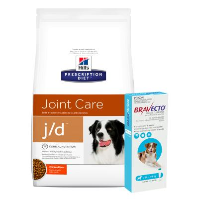 Bravecto Spot On Blue 20-40kg 1 Pack With Hills Prescription Diet Canine j/d Dry Dog Food 12.5kg