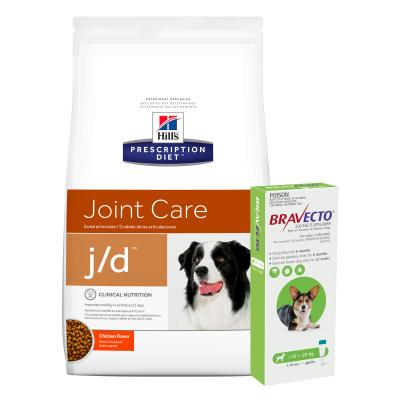 Bravecto Spot On Green 10-20kg 1 Pack With Hills Prescription Diet Canine j/d Dry Dog Food 12.5kg