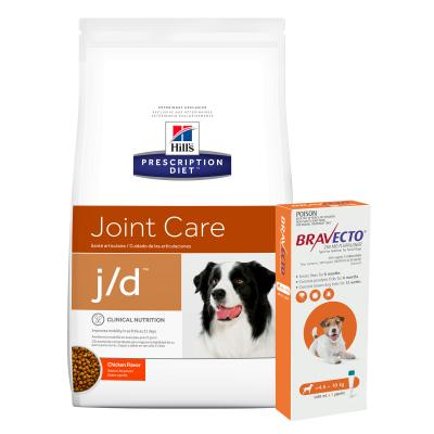 Bravecto Spot On Orange 4.5-10kg 1 Pack With Hills Prescription Diet Canine j/d Dry Dog Food 12.5kg