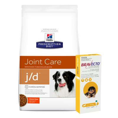 Bravecto Spot On Yellow 2-4.5kg 1 Pack With Hills Prescription Diet Canine j/d Dry Dog Food 3.85kg