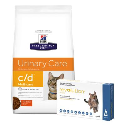 Revolution Cat 2.6-7.5kg Blue 6 Pack With Hills Prescription Diet Feline c/d Urinary Care Multicare Dry Cat Food 6kg