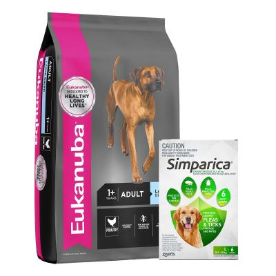 Simparica 20.1- 40kg Green Large Dog 6 Chews With Eukanuba Large Breed Adult Dry Dog Food 15kg