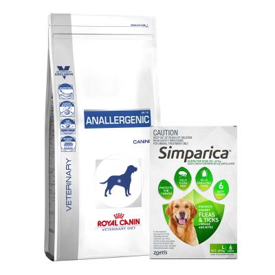Simparica 20.1- 40kg Green Large Dog 6 Chews With Royal Canin Veterinary Diet Canine Anallergenic Dry Dog Food 8kg