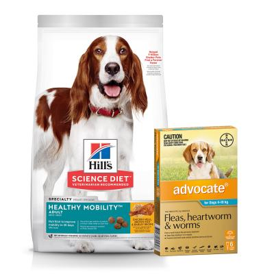 Advocate Dog Medium Blue 4-10kg 6 Pack With Hills Science Diet Healthy Mobility Chicken Rice Adult Dry Food 12kg