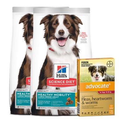Advocate Dog Large Red 10-25kg 6 Pack With Hills Science Diet Healthy Mobility Chicken Rice Large Breed Adult Dry Food 24kg