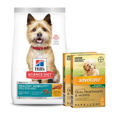 Advocate Dog Small Green Up To 4kg 6 Pack With Hills Science Diet Healthy Mobility Chicken Rice Small Bites Adult Dry Food 7kg
