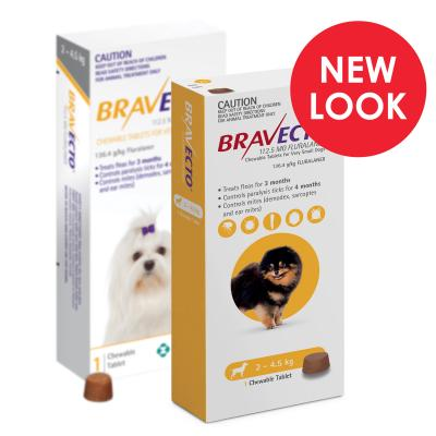 Bravecto For Very Small Dogs 2-4.5kg 1 Chew