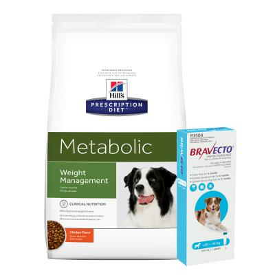 Bravecto Spot On Blue 20-40kg 1 Pack With Hills Prescription Diet Canine Metabolic Dry Dog Food 12.5kg
