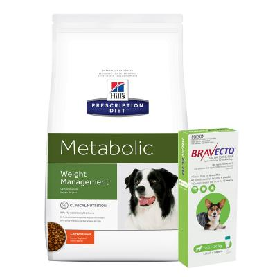 Bravecto Spot On Green 10-20kg 1 Pack With Hills Prescription Diet Canine Metabolic Dry Dog Food 12.5kg