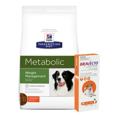 Bravecto Spot On Orange 4.5-10kg 1 Pack With Hills Prescription Diet Canine Metabolic Dry Dog Food 12.5kg