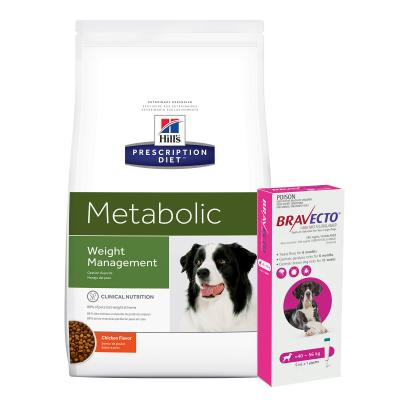Bravecto Spot On Pink 40-56kg 1 Pack With Hills Prescription Diet Canine Metabolic Dry Dog Food 12.5kg
