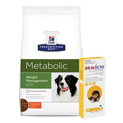 Bravecto Spot On Yellow 2-4.5kg 1 Pack With Hills Prescription Diet Canine Metabolic Dry Dog Food 5.5kg