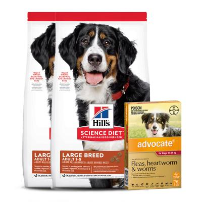 Advocate Dog Large Red 10-25kg 6 Pack With Hills Science Diet Chicken And Barley Large Breed Adult Dry Dog Food 24kg