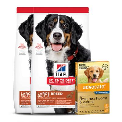 Advocate Dog XLarge Over 25kg 6 Pack With Hills Science Diet Chicken And Barley Large Breed Adult Dry Dog Food 24kg
