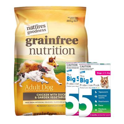 The Big 5 Protection Pack Pink 2.5kg-4kg 6 Pack With Natures Goodness Grain Free Chicken Duck Vegetables Dry Dog Food 20kg